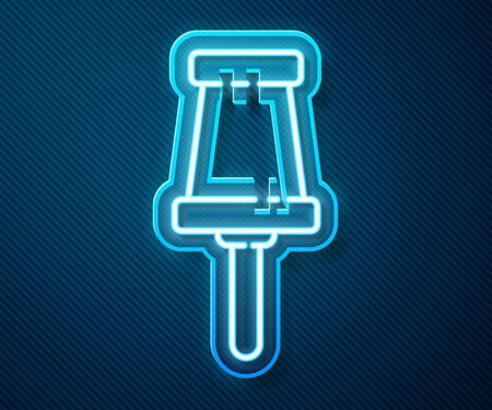 Glowing neon line Push pin icon isolated on blue background. Thumbtacks sign. Vector Illustration