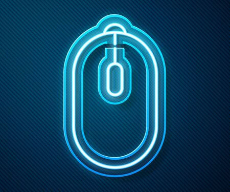 Glowing neon line Computer mouse gaming icon isolated on blue background. Optical with wheel symbol. Vector Illustration 向量圖像