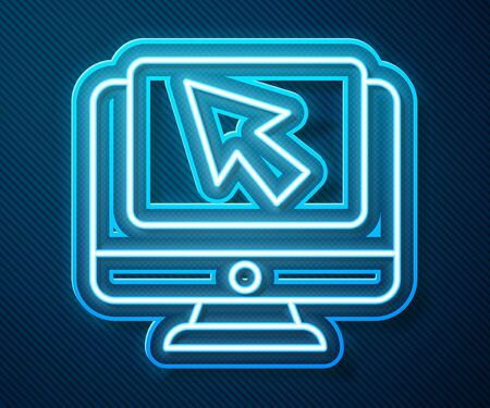 Glowing neon line Computer monitor and cursor icon isolated on blue background. Computer notebook with empty screen sign. Vector Illustration Ilustração