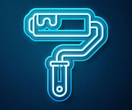 Glowing neon line Paint roller brush icon isolated on blue background. Vector Illustration 向量圖像