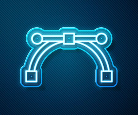 Glowing neon line Bezier curve icon isolated on blue background. Pen tool icon. Vector Illustration