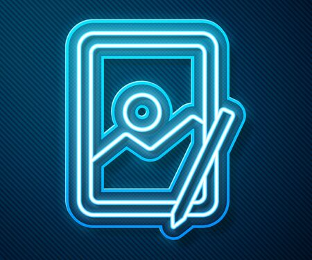 Glowing neon line Graphic tablet icon isolated on blue background. Vector Illustration 版權商用圖片 - 143297992