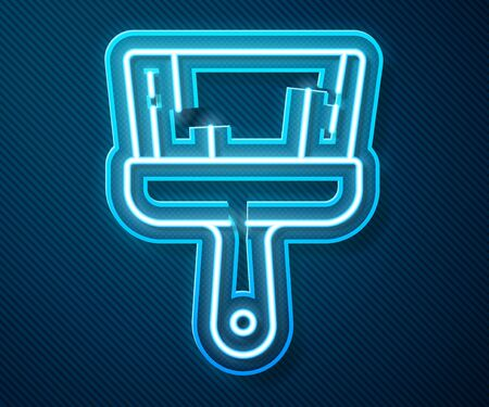 Glowing neon line Paint brush icon isolated on blue background. Vector Illustration