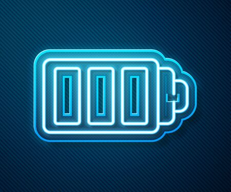 Glowing neon line Battery charge level indicator icon isolated on blue background. Vector Illustration 向量圖像