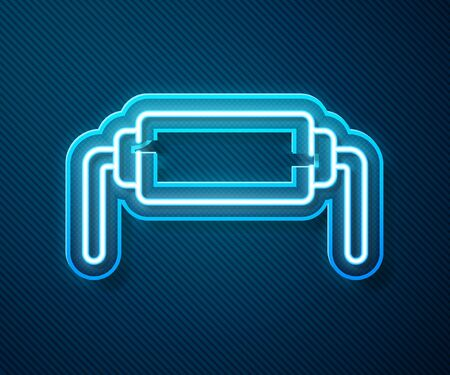 Glowing neon line Resistor electricity icon isolated on blue background. Vector Illustration Иллюстрация