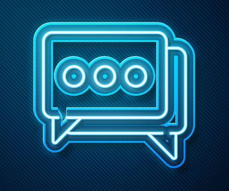 Glowing neon line Speech bubble chat icon isolated on blue background. Message icon. Communication or comment chat symbol. Vector Illustration