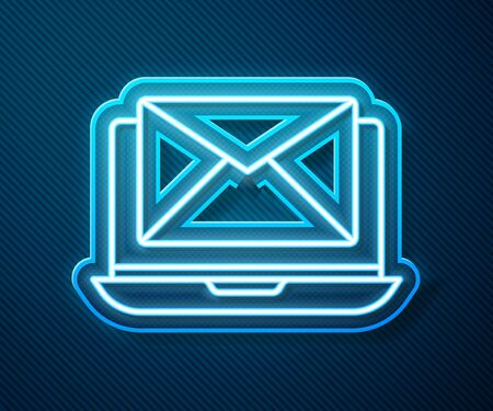 Glowing neon line Laptop with envelope and open email on screen icon isolated on blue background. Email marketing, internet advertising concepts. Vector Illustration 版權商用圖片 - 143298030