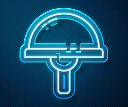 Glowing neon line Light emitting diode icon isolated on blue background. Semiconductor diode electrical component. Vector Illustration