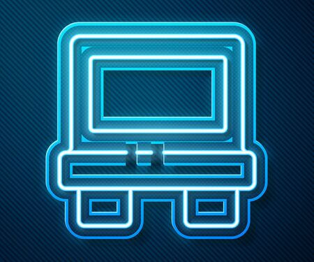 Glowing neon line Fuse of electrical protection component icon isolated on blue background. Melting breaking protective fuse. Vector Illustration