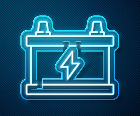 Glowing neon line Car battery icon isolated on blue background. Accumulator battery energy power and electricity accumulator battery. Vector Illustration