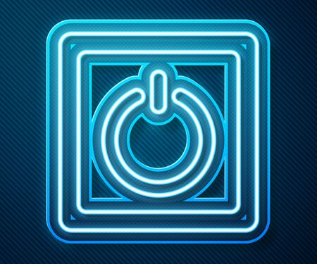 Glowing neon line Electric light switch icon isolated on blue background. On and Off icon. Dimmer light switch sign. Concept of energy saving. Vector Illustration Ilustração