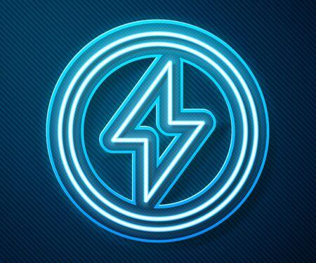 Glowing neon line Lightning bolt icon isolated on blue background. Flash sign. Charge flash icon. Thunder bolt. Lighting strike. Vector Illustration