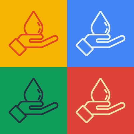Pop art line Washing hands with soap icon isolated on color background. Washing hands with soap to prevent virus and bacteria. Vector Illustration Standard-Bild - 143276229