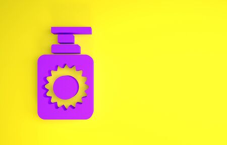 Purple Sunscreen spray bottle icon isolated on yellow background. Protection for the skin from solar ultraviolet light. Minimalism concept. 3d illustration 3D render