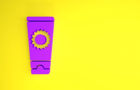 Purple Sunscreen cream in tube icon isolated on yellow background. Protection for the skin from solar ultraviolet light. Minimalism concept. 3d illustration 3D render