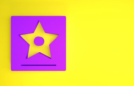 Purple star  icon isolated on yellow background. Minimalism concept. 3d illustration 3D render