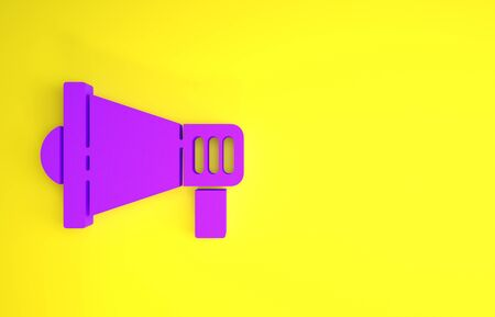 Purple Megaphone icon isolated on yellow background. Speaker sign. Minimalism concept. 3d illustration 3D render