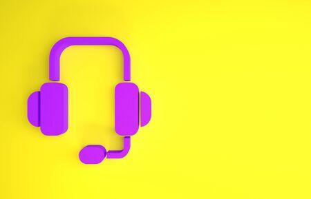 Purple Headphones icon isolated on yellow background. Support customer service, hotline, call center, faq, maintenance. Minimalism concept. 3d illustration 3D render Archivio Fotografico
