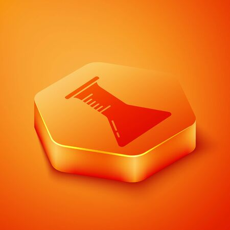 Isometric Test tube and flask icon isolated on orange background. Chemical laboratory test. Laboratory glassware. Orange hexagon button. Vector Illustration