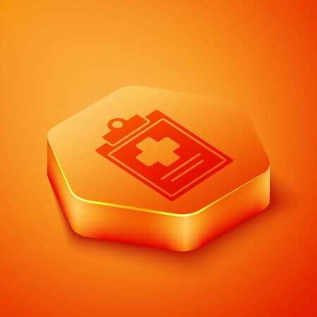 Isometric Medical clipboard with clinical record icon isolated on orange background. Health insurance form. Prescription, medical check marks report. Orange hexagon button. Vector Illustration  イラスト・ベクター素材