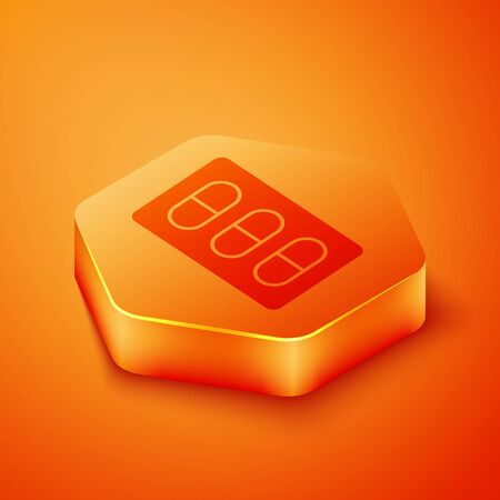 Isometric Pills in blister pack icon isolated on orange background. Medical drug package for tablet, vitamin, antibiotic, aspirin. Orange hexagon button. Vector Illustration