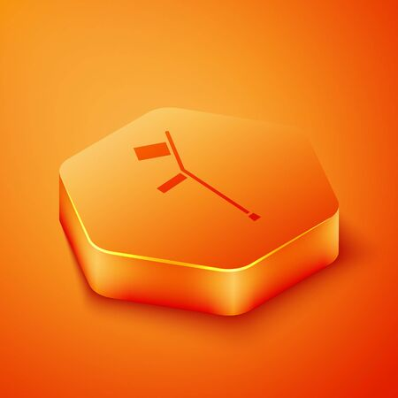 Isometric Crutch or crutches icon isolated on orange background. Equipment for rehabilitation of people with diseases of musculoskeletal system. Orange hexagon button. Vector Illustration