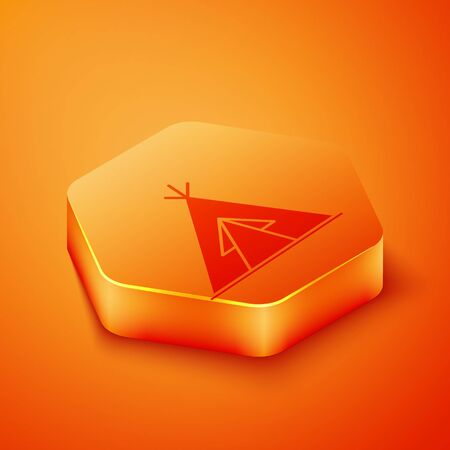 Isometric Traditional indian teepee or wigwam icon isolated on orange background. Indian tent. Orange hexagon button. Vector Illustration