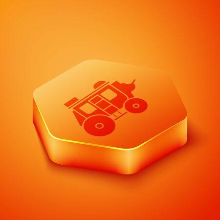 Isometric Western stagecoach icon isolated on orange background. Orange hexagon button. Vector Illustration  イラスト・ベクター素材