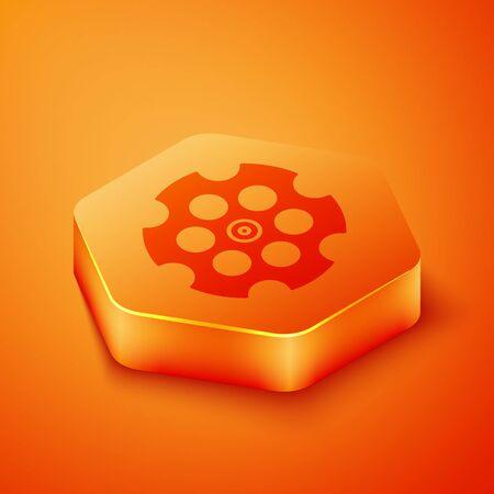 Isometric Revolver cylinder icon isolated on orange background. Orange hexagon button. Vector Illustration Çizim
