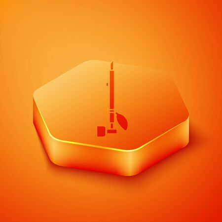 Isometric Native American indian smoking pipe icon isolated on orange background. Orange hexagon button. Vector Illustration