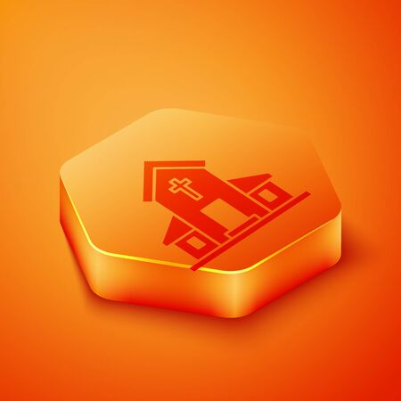 Isometric Church building icon isolated on orange background. Christian Church. Religion of church. Orange hexagon button. Vector Illustration