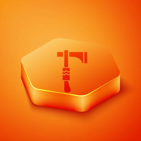 Isometric Native american tomahawk axe icon isolated on orange background. Orange hexagon button. Vector Illustration