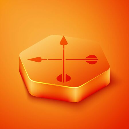 Isometric Crossed arrows icon isolated on orange background. Orange hexagon button. Vector Illustration  イラスト・ベクター素材
