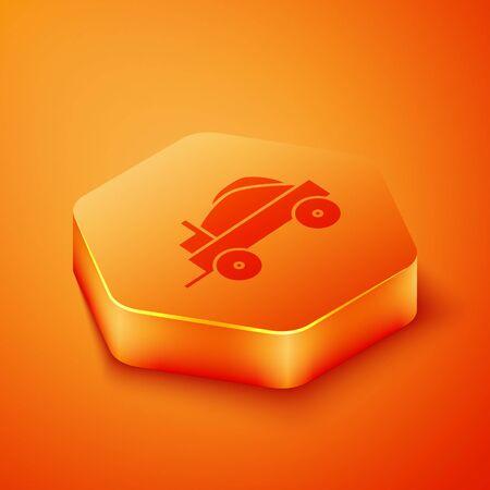Isometric Wild west covered wagon icon isolated on orange background. Orange hexagon button. Vector Illustration