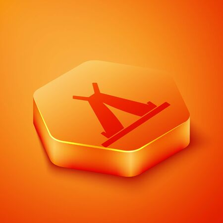 Isometric Traditional indian teepee or wigwam icon isolated on orange background. Indian tent. Orange hexagon button. Vector Illustration 写真素材 - 143433398