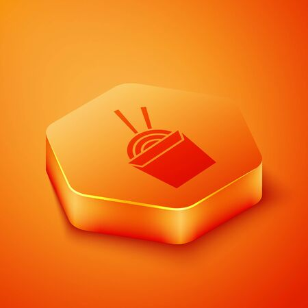 Isometric Asian noodles in paper box and chopsticks icon isolated on orange background. Street fast food. Korean, Japanese, Chinese food. Orange hexagon button. Vector Illustration 向量圖像
