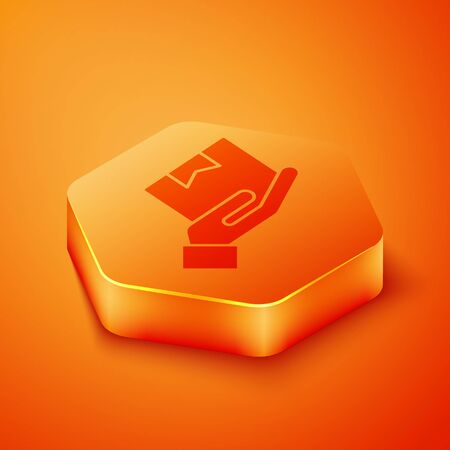Isometric Delivery hand with cardboard boxes icon isolated on orange background. Door to door delivery by courier. Orange hexagon button. Vector Illustration