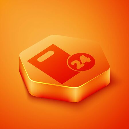 Isometric Delivery with cardboard boxes icon isolated on orange background. Door to door delivery by courier. Orange hexagon button. Vector Illustration