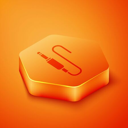 Isometric Audio jack icon isolated on orange background. Audio cable for connection sound equipment. Plug wire. Musical instrument. Orange hexagon button. Vector Illustration