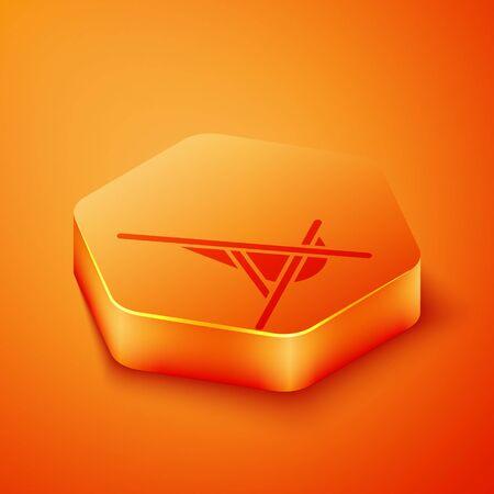 Isometric Sunbed icon isolated on orange background. Orange hexagon button. Vector Illustration 向量圖像