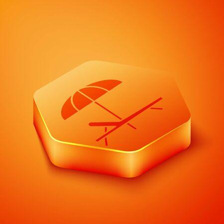 Isometric Sunbed icon isolated on orange background. Beach umbrella and Sun lounger. Orange hexagon button. Vector Illustration