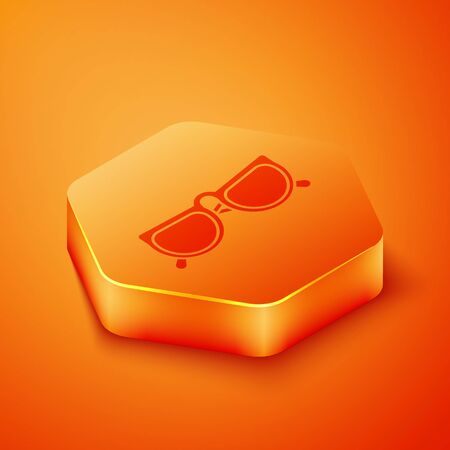 Isometric Glasses icon isolated on orange background. Eyeglass frame symbol. Orange hexagon button. Vector Illustration