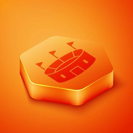 Isometric Hockey stadium icon isolated on orange background. Hockey arena. Orange hexagon button. Vector Illustration