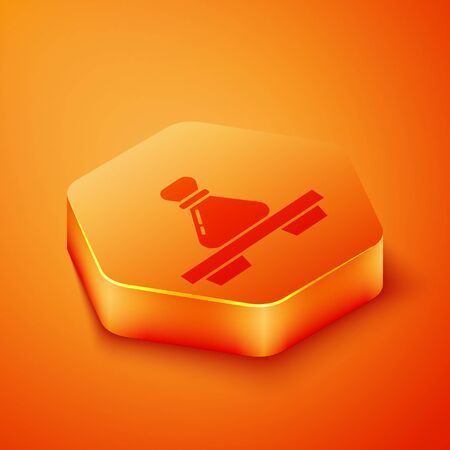 Isometric Dumpling on cutting board icon isolated on orange background. Traditional chinese dish. Orange hexagon button. Vector Illustration