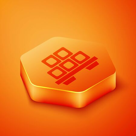 Isometric Sushi on cutting board icon isolated on orange background. Asian food sushi on wooden board. Orange hexagon button. Vector Illustration 向量圖像