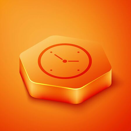 Isometric Fast time delivery icon isolated on orange background. Timely service, stopwatch in motion, deadline concept, clock speed. Orange hexagon button. Vector Illustration 写真素材 - 143433176