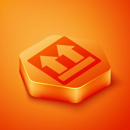 Isometric This side up icon isolated on orange background. Two arrows indicating top side of packaging. Cargo handled. Orange hexagon button. Vector Illustration Illustration