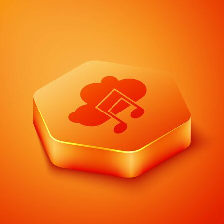 Isometric Music streaming service icon isolated on orange background. Sound cloud computing, online media streaming, song, audio wave. Orange hexagon button. Vector Illustration  イラスト・ベクター素材
