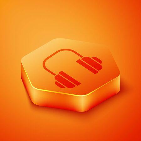 Isometric Headphones icon isolated on orange background. Support customer service, hotline, call center, faq, maintenance. Orange hexagon button. Vector Illustration Vecteurs