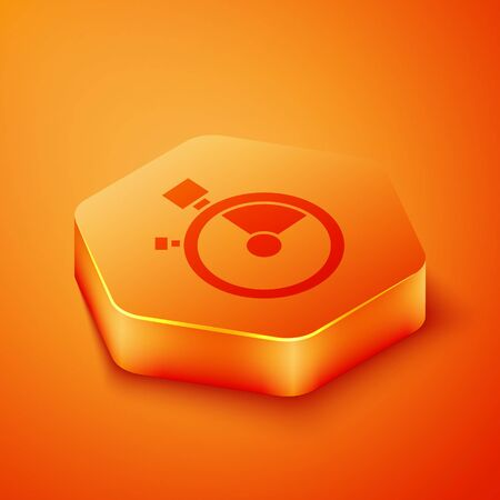 Isometric Fast time delivery icon isolated on orange background. Timely service, stopwatch in motion, deadline concept, clock speed. Orange hexagon button. Vector Illustration 写真素材 - 143433231